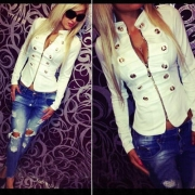 Fashion Stand Collar Metal Double-breasted Long Sleeve Jacket