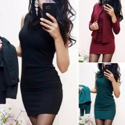 Elegant Solid Color Long Sleeve Coat + Sleeveless Tight Dress Two-piece Set