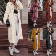 Fashion Solid Color Hooded Long-style Knit Cardigan