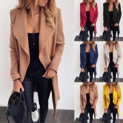 Fashion Solid Color Long Sleeve Lapel Coat with Waist Strap
