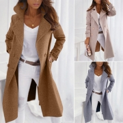 Elegant Solid Color Long Sleeve Notched Lapel Woolen Coat