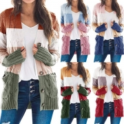 Fashion Contrast Color Long Sleeve V-neck Knit Cardigan