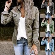 Fashion Long Sleeve POLO Collar Denim Coat