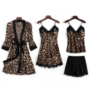 Sexy Lace Spliced Leopard Printed Nightwear Set Four-piece Set