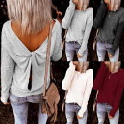 Sexy Twisted Backless Long Sleeve Solid Color Knit Top