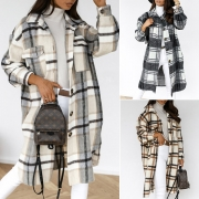 Fashion Long Sleeve POLO Collar Loose Plaid Woolen Coat