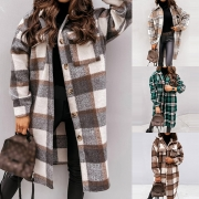 Fashion Long Sleeve PLO Collar Plaid Shirt Coat