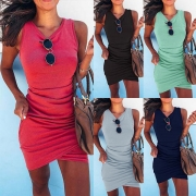 Fashion Solid Color Irregular Hem Slim Fit Tank Dress