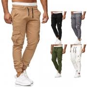 Fashion Solid Color Drawstring Waist Side-pocket Men's Pants