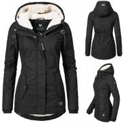 Fashion Solid Color Long Sleeve Hooded Plush Lining Padded Coat (It falls small)