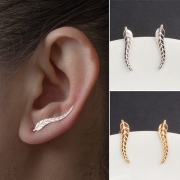 Fashion Gold/Silver-tone Leaf U-shaped Ear Clips Stud Earrings