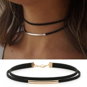 Punk Style Copper Tube Pendant Double Layer Choker Necklace