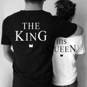 Fashion The King His Queen Couple T-shirt with Short Sleeve Round Neck