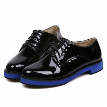 Roman Style Retro Pointed-toe Lace-up Pure Color Flats
