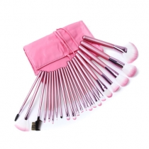 Sweet Pink Cosmetic 22pcs Makeup Brush Set with Roll up Case