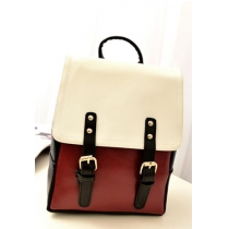 Retro British Style Rivet Strap Buckle Contrast Color Backpack Bag