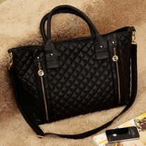 Classy Black Diamond Check Quilted Veritical Zipper Purse Tote Shoulder Hand