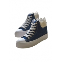 Leisure Sweet Lace Spliced High-top Canvas Shoes