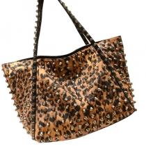 Punk Style Stylish Cool Overall Leopard Print Rivet Handbag