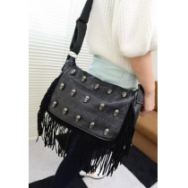 Punk Chic Style Skull Rivet Fringed Shoulder Bag Handbag