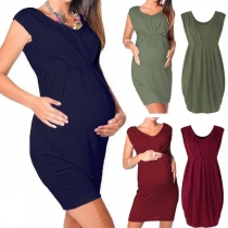 Fashion Solid Color Sleeveless Round Neck High Waist Maternity Dress
