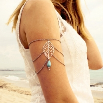 Fashion Hollow Out Leaf Water-drop Turquoise Tassels Arm Chain