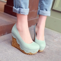 Fresh Style Round Toe Slip-on Wedge High-heeled Shoes