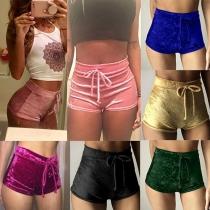 Fahion Casual Solid Color Bandage High Waist Shorts