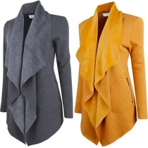 Fashion Solid Color 2-side Zipper Pockets Lapel Long Sleeve Cardigan