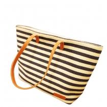 Cute Leisure Navy Style Strip Print Canvas Handbag