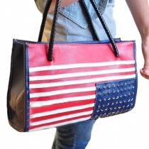 European Punk Style Retro American Flag Rivet Handbag