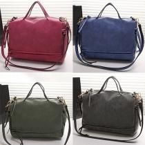 Retro Style Solid Color Motorcycle Handbag Shoulder Bag