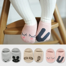 Cute Cartoon Pattern Asymmetric Anti-slip Kids Socks 2 Pair/ Set