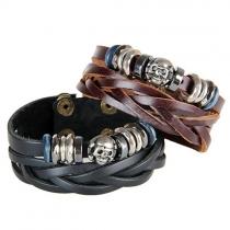 Punk Style Skull Head Beaded Hand-braided Bracelet