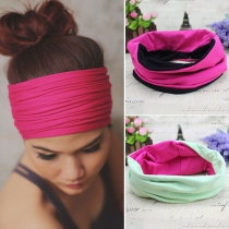 Fashion Contrast Color Multi-Purpose Headband 2 Piece/Set