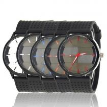 Fashion Black Watch Band Round Dial Men's Quartz Watch