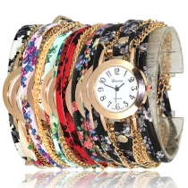 Ethnic Style Printed Watch Band Round Dial Women's Watch