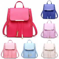 Fashion Casual Solid Color Flap Pocket PU Leather Backpack