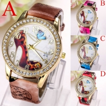 Fashion PU Leather Butterfly high-heeled Shoes Pattern Quartz Watch
