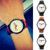 Fashion Letters PU Leather Watch Band Dial Couple Watch