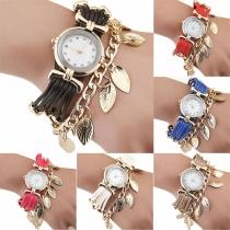 Fashion Colorful Braided Leaf Tassel Bracelet Watch