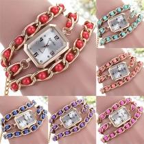 Fashion Pearl Twist Rectangle Shaped Bracelet Watch