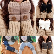 Fashion Solid Color Button Half Finger Knit Gloves