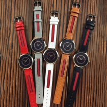 Fashion Contrast Color PU Leather Watchband Round Dial Quartz Watches