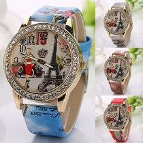 Fashion PU Leather Watchband Round Dial Quartz Watch