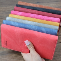 Retro Style Solid Color Buckle Long Wallet