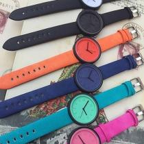 Fashion Candy Color Canvas Watchband Round Dial Quartz Watch