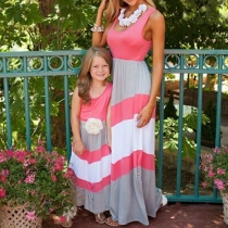 Fashion Sleeveless Round Neck Striped Parent-child Dress