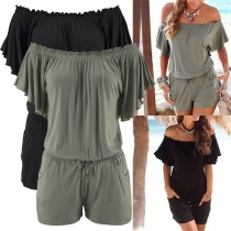 Sexy Slash Neck Short Sleeve Gathered Waist Solid Color Rompers