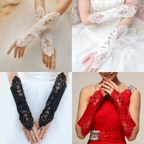 Fashion Solid Color Lace Spliced Fingerless Wedding Gloves